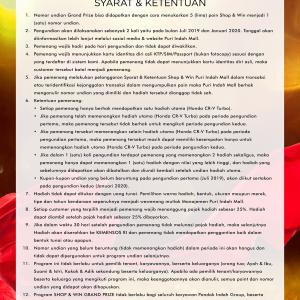 SYARAT & KETENTUAN SHOP & WIN GRAND PRIZE 2019-2020